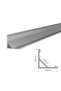 Профиль алюминиевый накладной угловой ПФ-9 полуматовый рассеиватель (комплект) 2м
