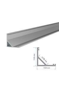 Профиль алюминиевый накладной ПФ-9 полуматовый рассеиватель (комплект) 2м