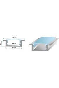 Профиль светодиодный ПФ-19 врезной рассеиватель (комплект) 2 метра